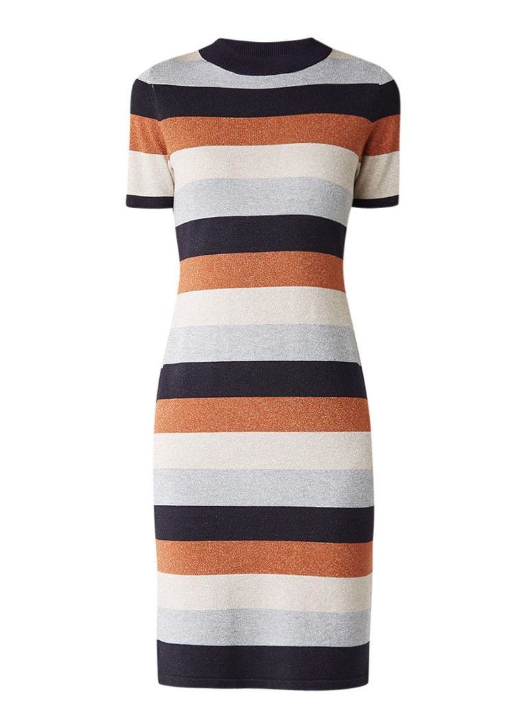 Comma Fijngebreide midi-jurk met lurex en streepdessin multicolor