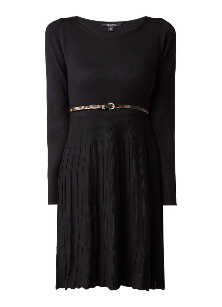 Comma Ribgebreide A-lijn jurk met ceintuur zwart