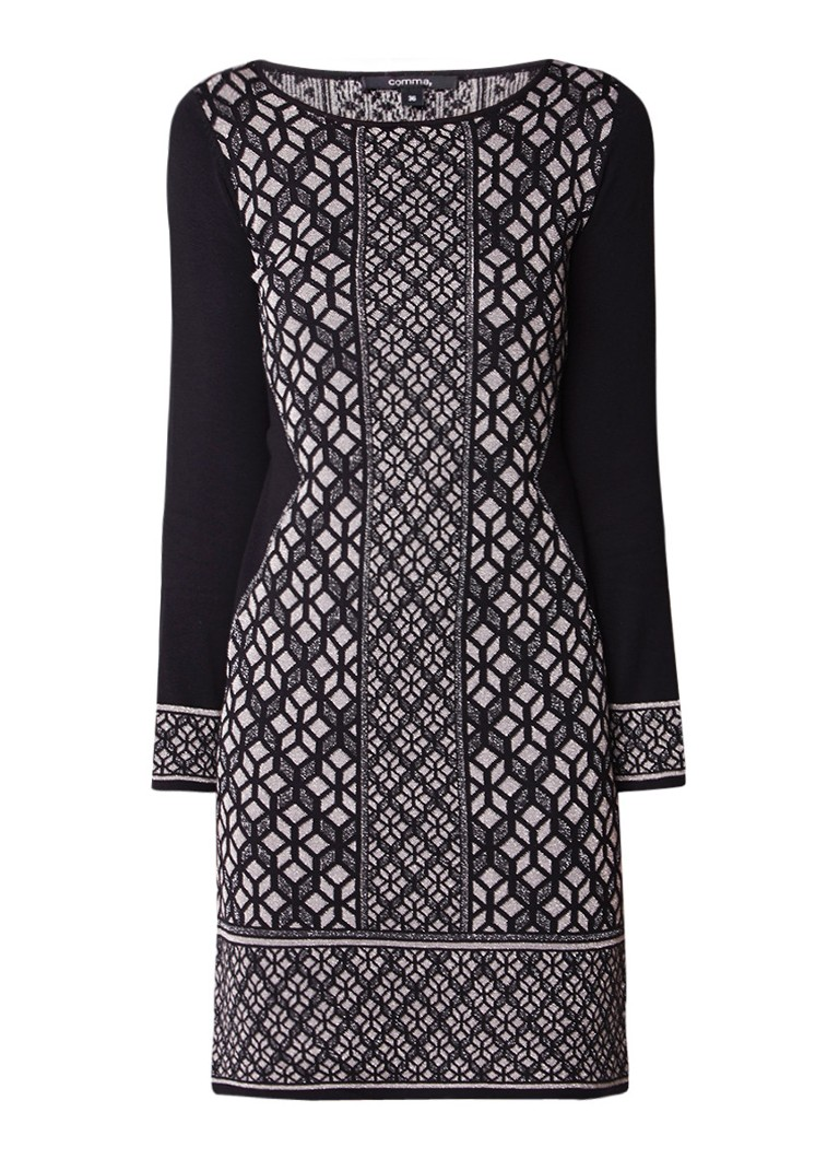 Comma Fijngebreide jurk met geometrisch dessin en lurex zwart