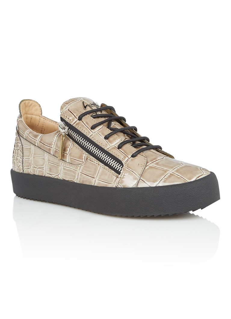 Giuseppe Zanotti May London sneaker van leer met croco textuur