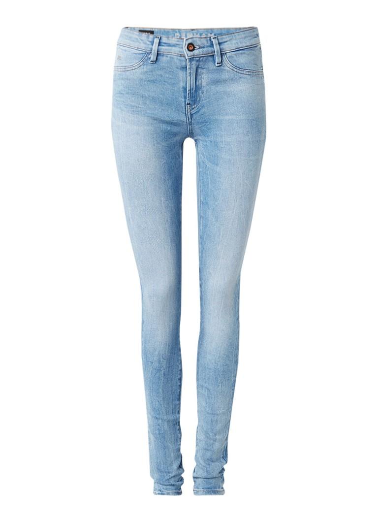 Denham Mid rise skinny jeans met faded look