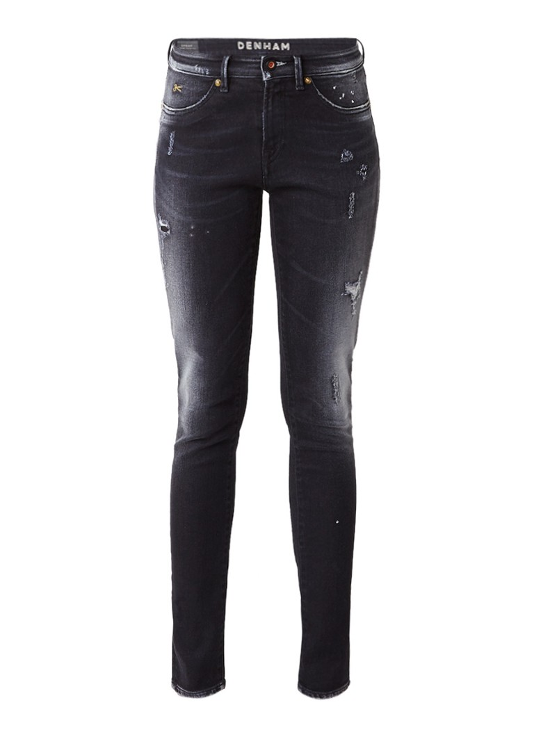 Denham Spray mid rise skinny jeans met destroyed details