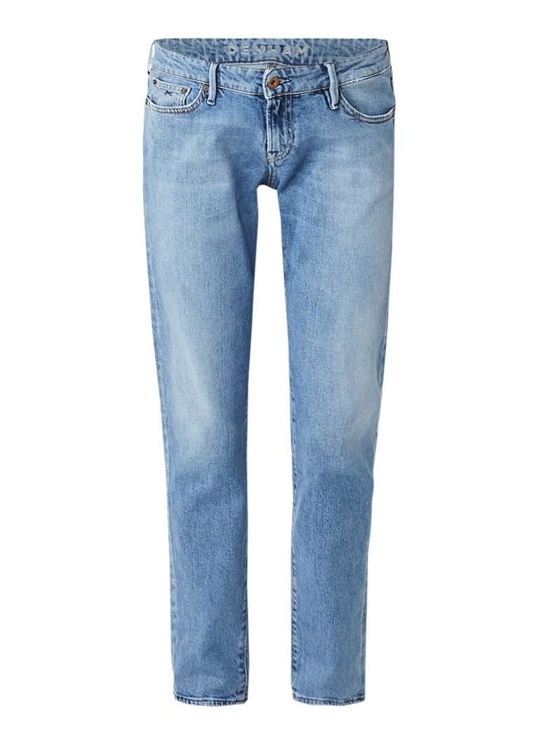 Denham Sally mid rise straight fit jeans met gebleekte wassing