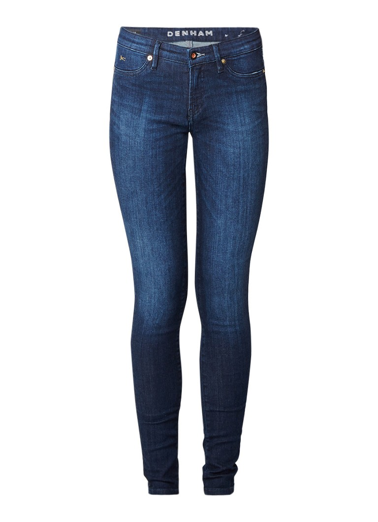 Denham Spray low rise skinny fit jeans met faded look