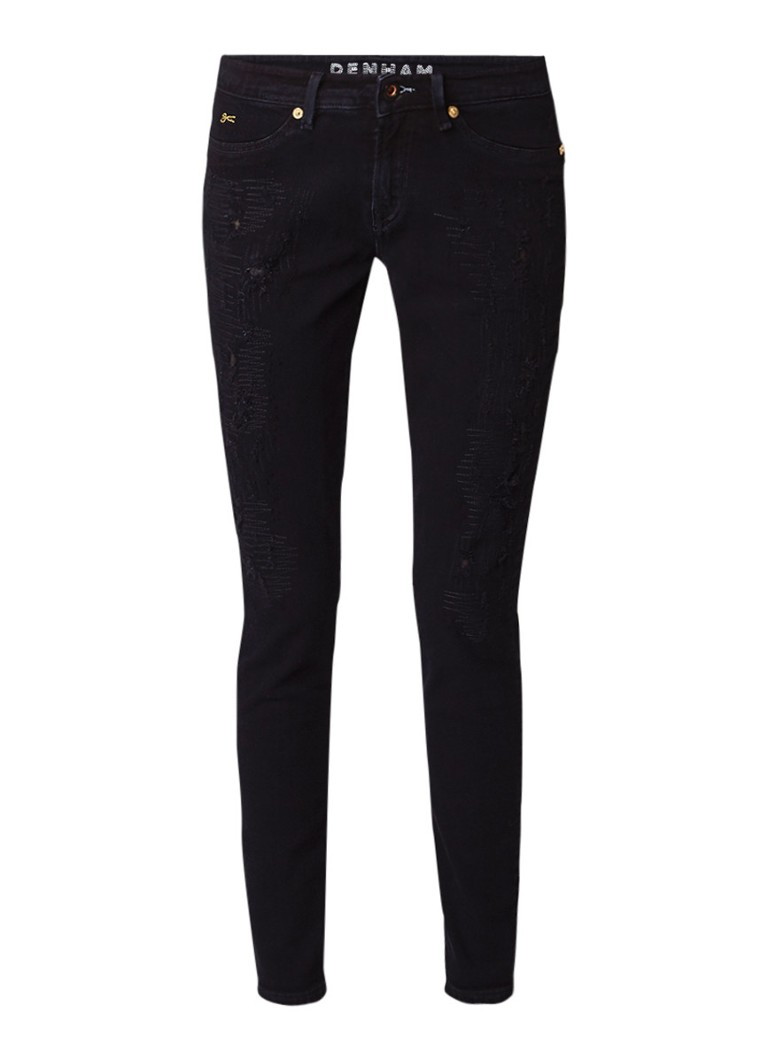 Denham Spray mid rise super tight fit jeans met destroyed details