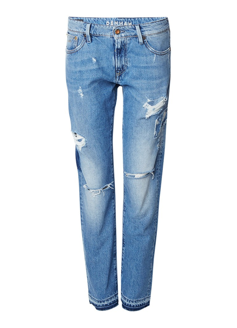 Denham Monroe mid rise straight fit jeans met destroyed details
