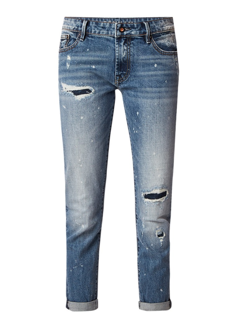 Denham Monroe high rise slim fit girlfriend jeans met destroyed details