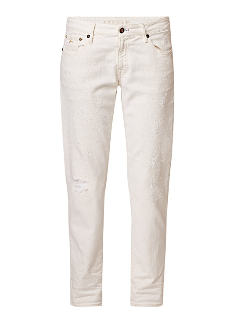 Denham Monroe girlfriend slim fit jeans met destroyed afwerking