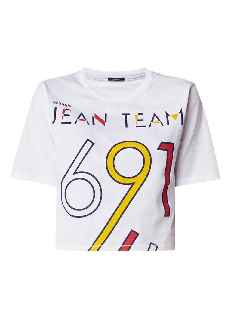 Denham Boardwalk cropped T-shirt met print