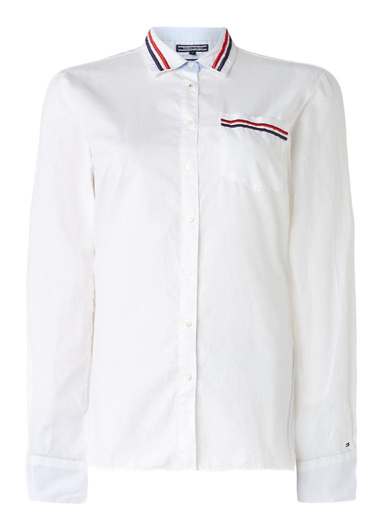 Tommy Hilfiger Jute slim fit blouse van katoen met geborduurde details