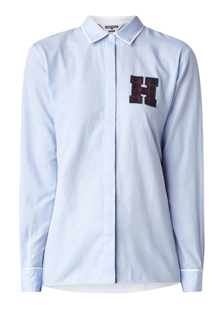 Tommy Hilfiger Regular fit blouse met letterapplicatie