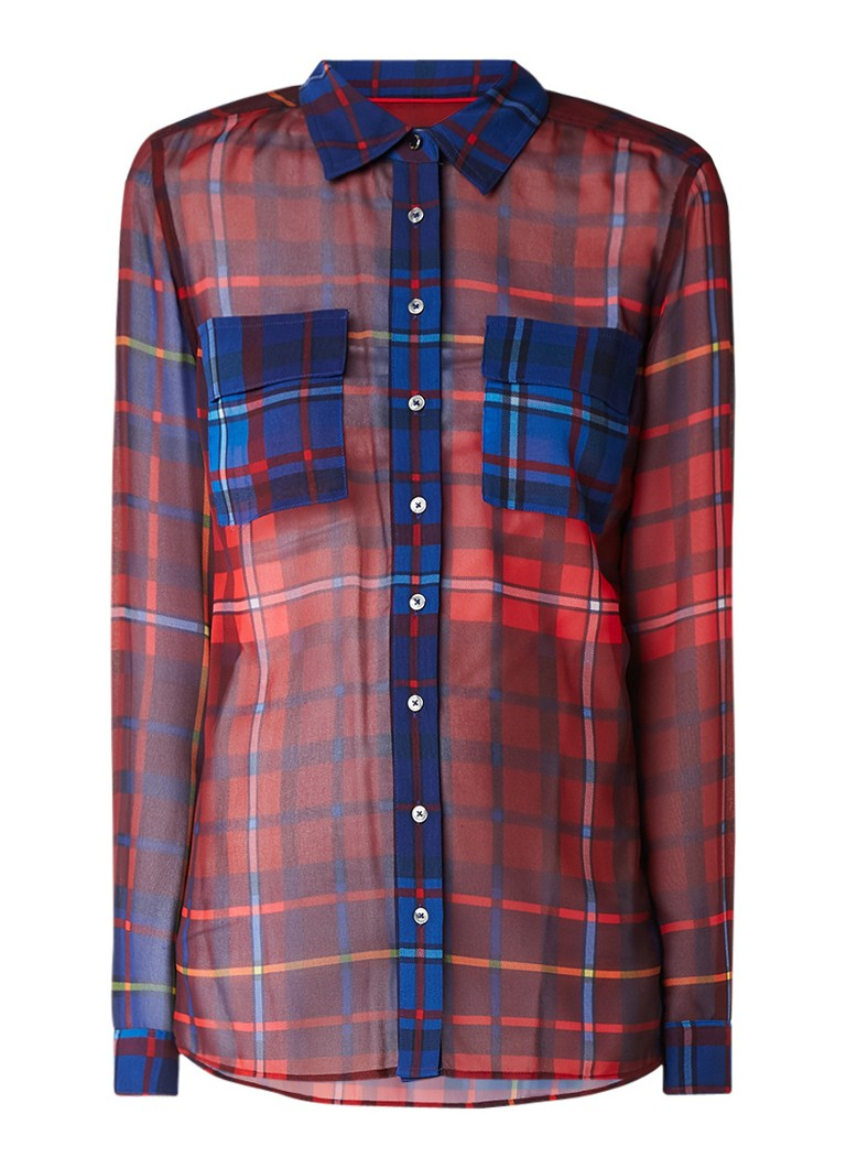 Tommy Hilfiger Janet semi-transparante blouse met Tartan ruitdessin