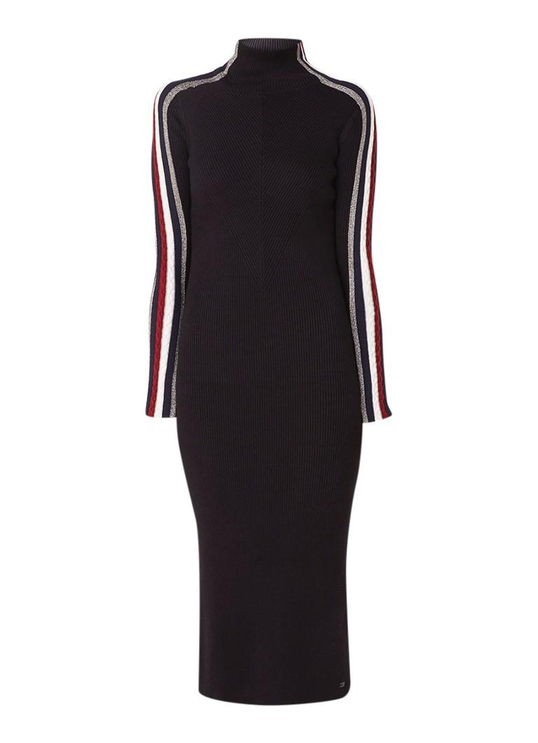 Tommy Hilfiger New Icon Tarah jurk met contrastbies en lurex zwart
