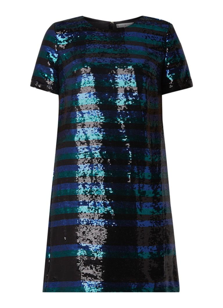 Tommy Hilfiger Leila mini-jurk met pailletten en streepdessin zwart
