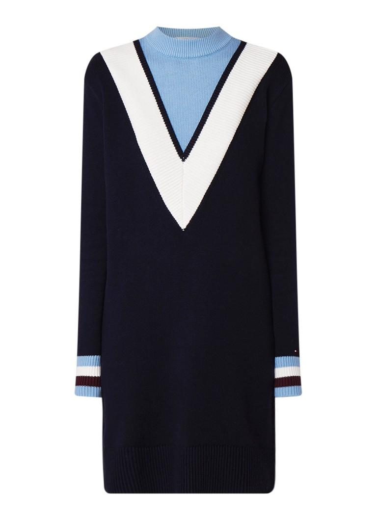 Tommy Hilfiger Raissa gebreide trui-jurk in wolblend met color block donkerblauw