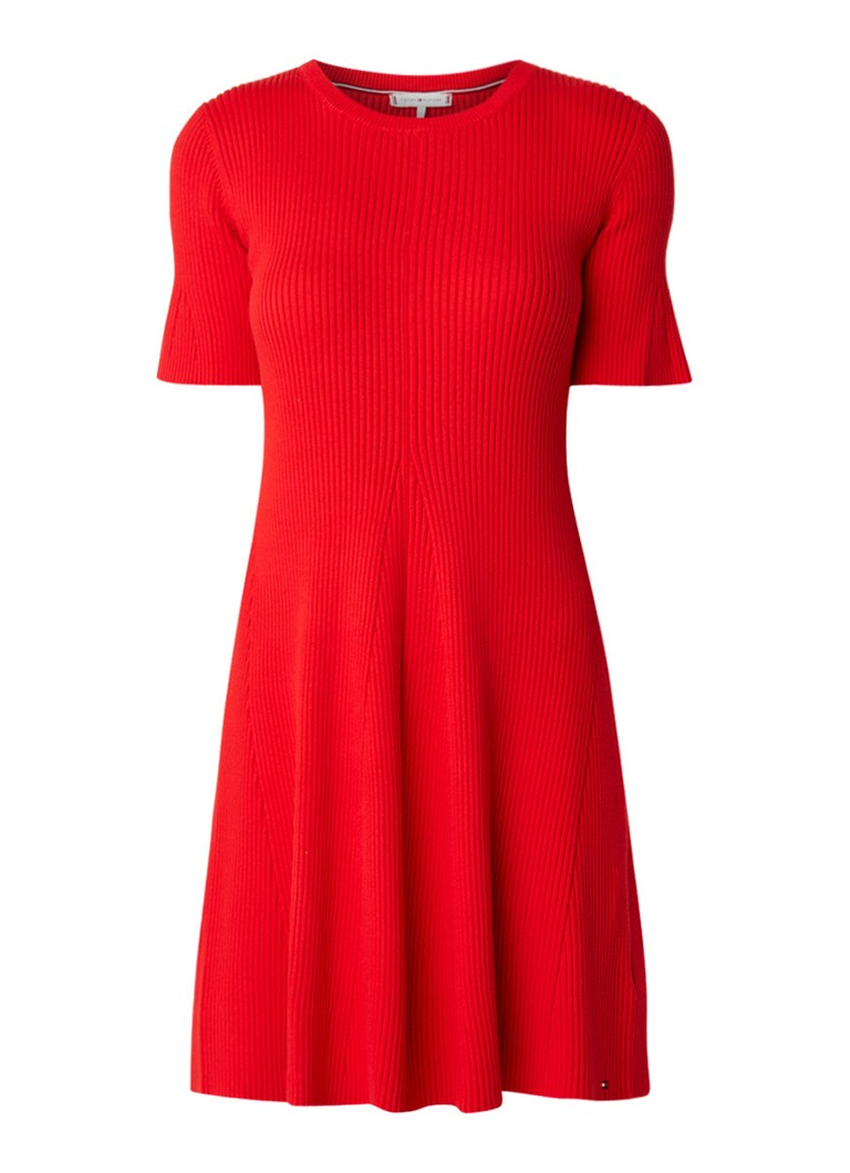 Tommy Hilfiger Sane ribgebreide A-lijn jurk met klokmouw rood