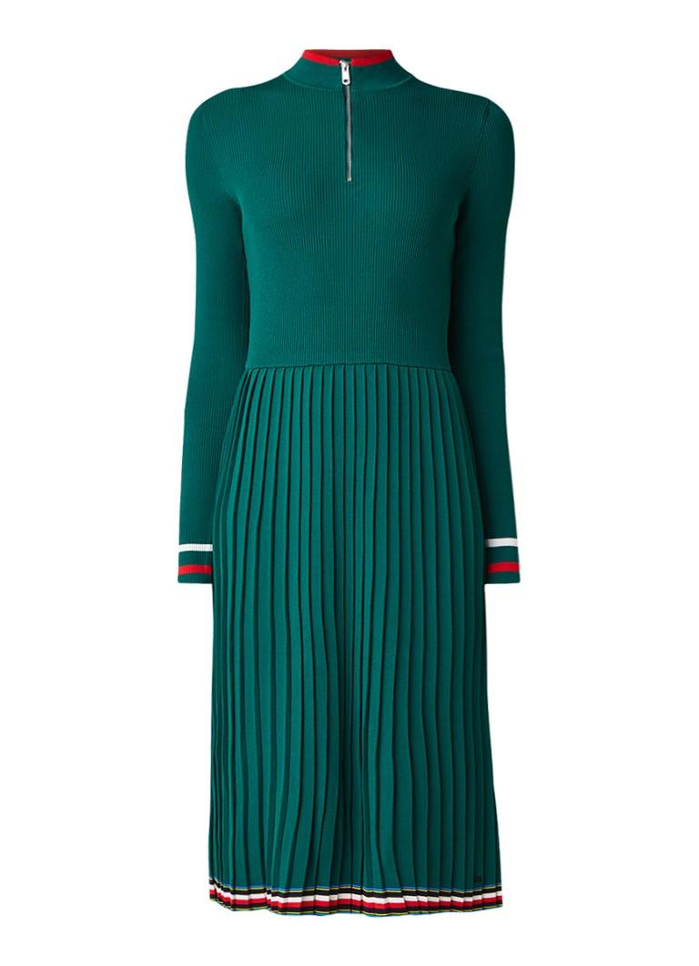 Tommy Hilfiger Jessah fijngebreide jurk met plissé en col groen