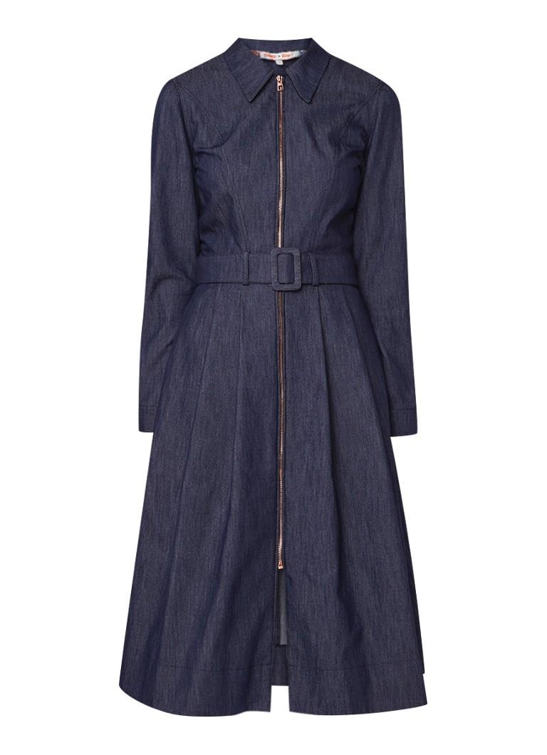 Tommy Hilfiger Midi-jurk van denim met ceintuur indigo