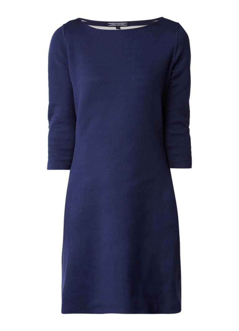Tommy Hilfiger Balina fijngebreide reversible jurk in uni/gestreept donkerblauw