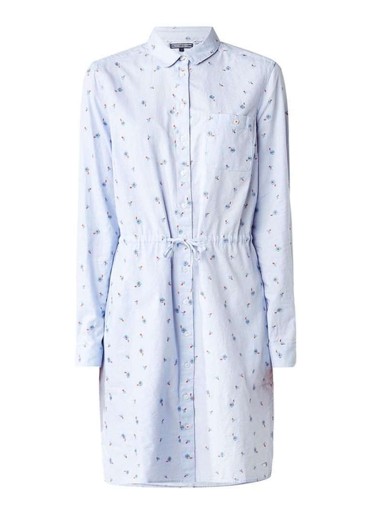 Tommy Hilfiger Angel blousejurk met bloemenborduring lichtblauw