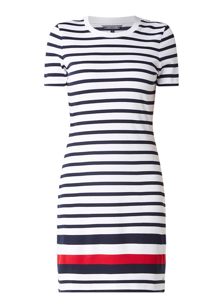 Tommy Hilfiger Evana gestreepte T-shirt jurk wit