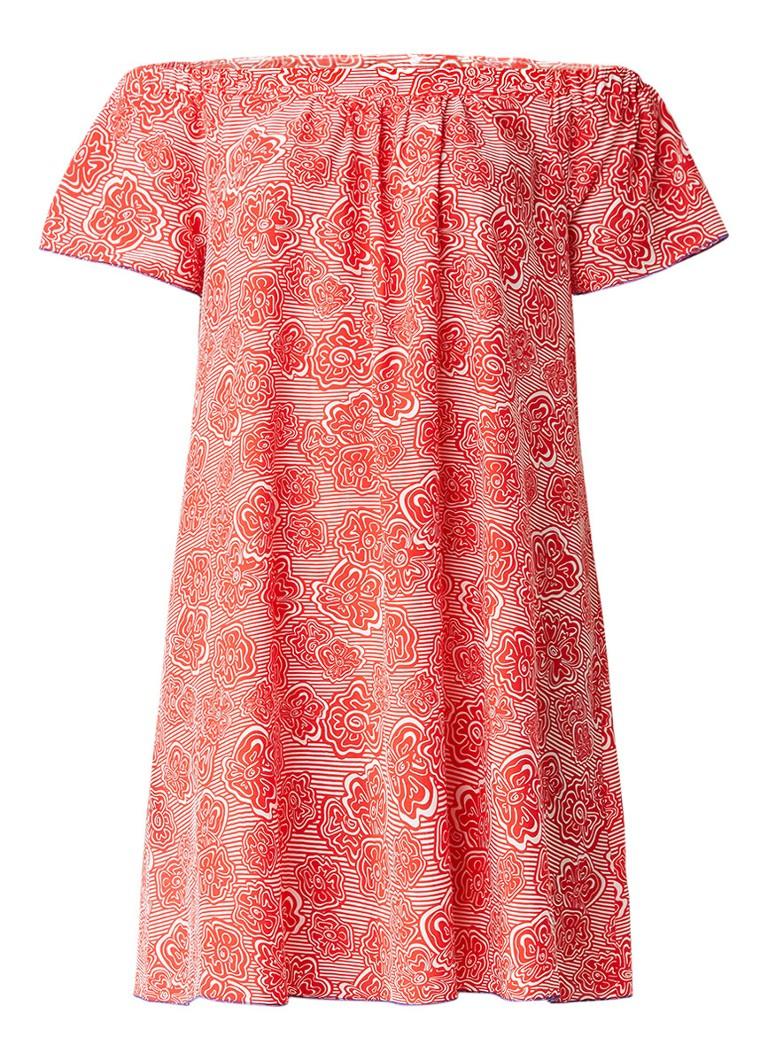 Tommy Hilfiger Ivy off shoulder jurk met bloemendessin rood
