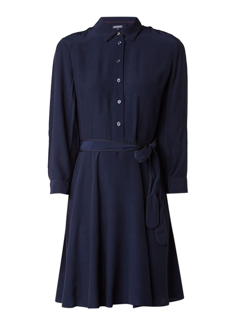 Tommy Hilfiger Josie A-lijn blousejurk met ceintuur donkerblauw