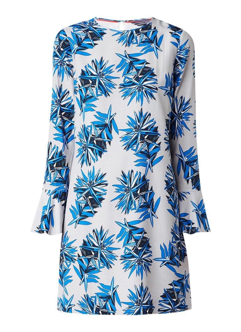 Tommy Hilfiger Jill jurk met bloemendessin en trompetmouw kobaltblauw
