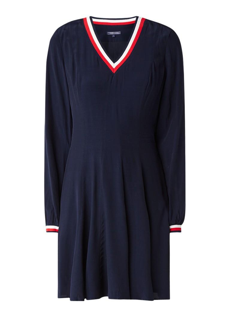 Tommy Hilfiger Josie A-lijn jurk gestreepte boorden donkerblauw