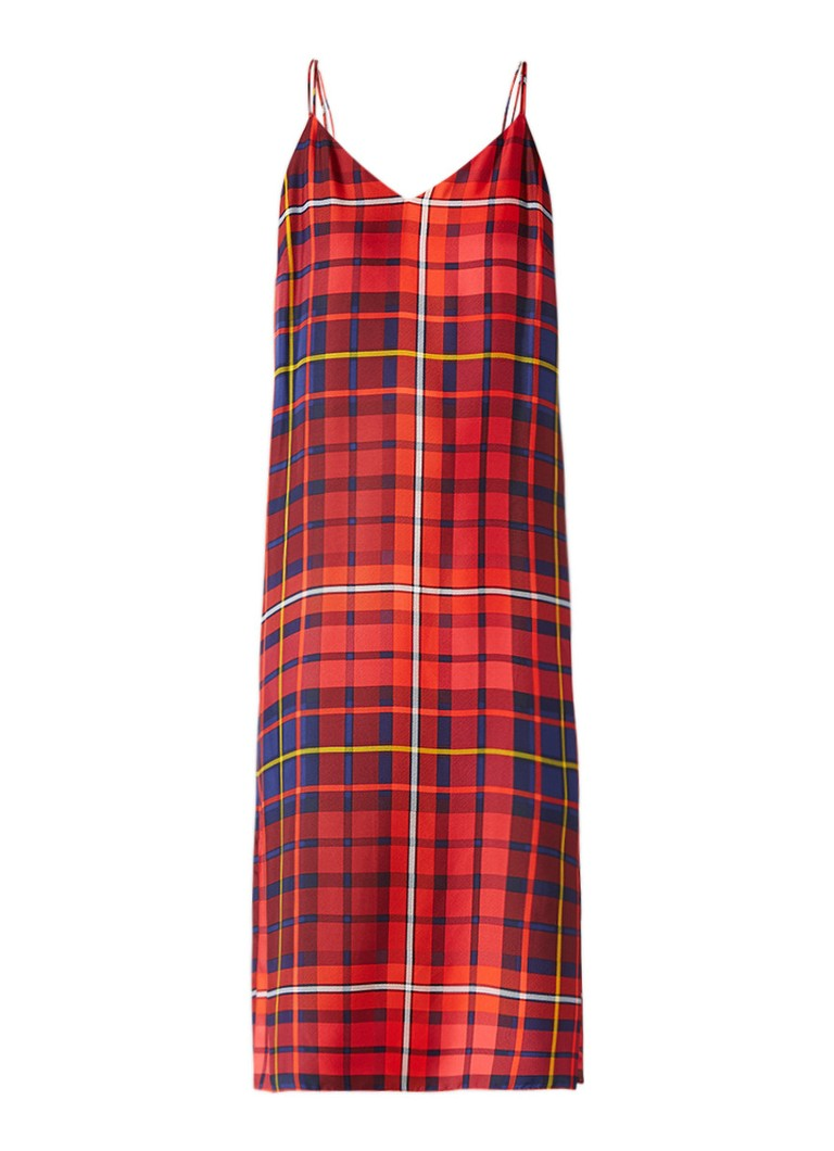 Tommy Hilfiger Midi-jurk van zijde met Tartan ruitdessin rood