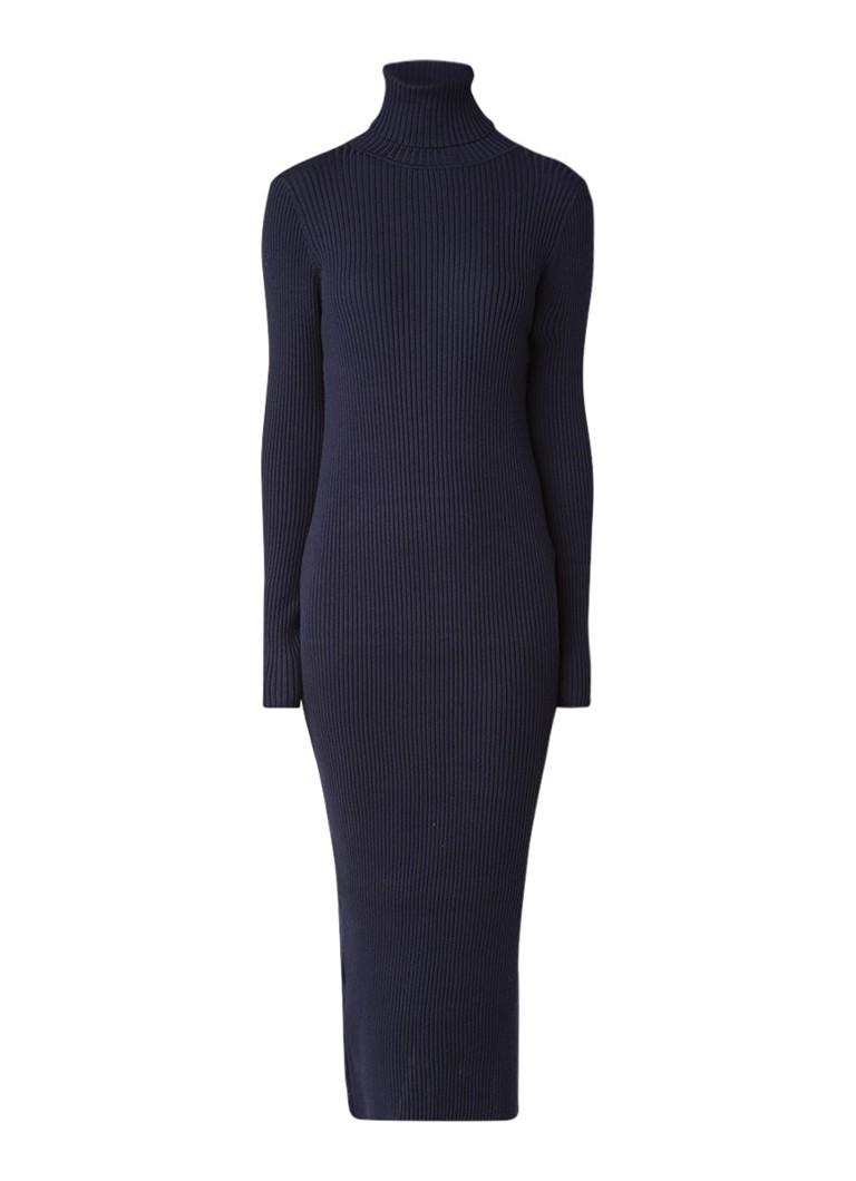 Tommy Hilfiger Ribgebreide midi-jurk met col donkerblauw