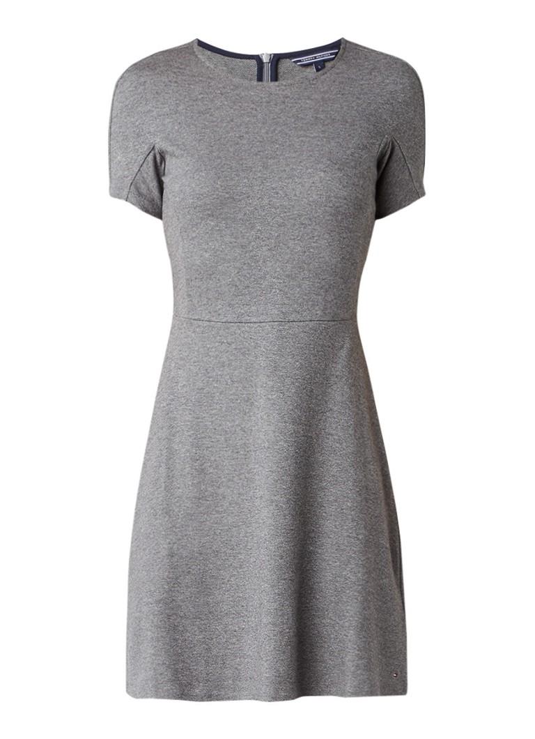 Tommy Hilfiger Mala A-lijn jurk met korte mouw grijs