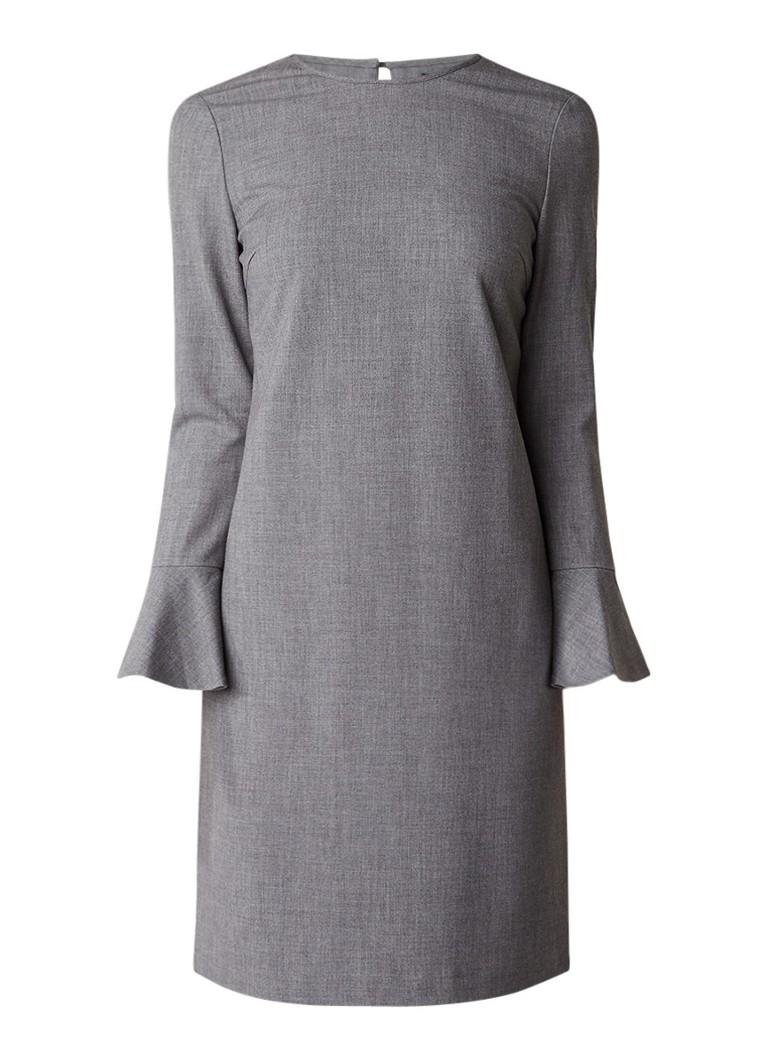 Tommy Hilfiger Midi-jurk in wolblend met trompetmouw grijs