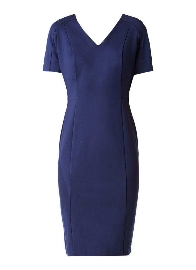 Tommy Hilfiger Imogen jersey midi-jurk met V-hals donkerblauw