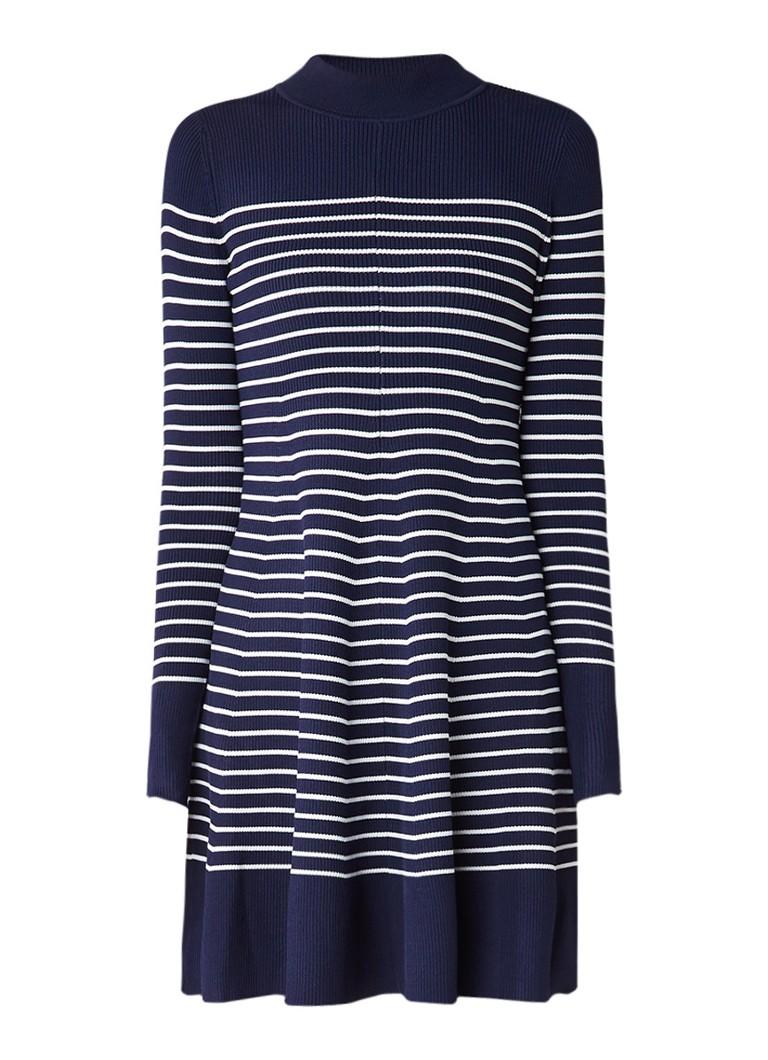 Tommy Hilfiger Gaila ribgebreide A-lijn jurk met streepdessin donkerblauw