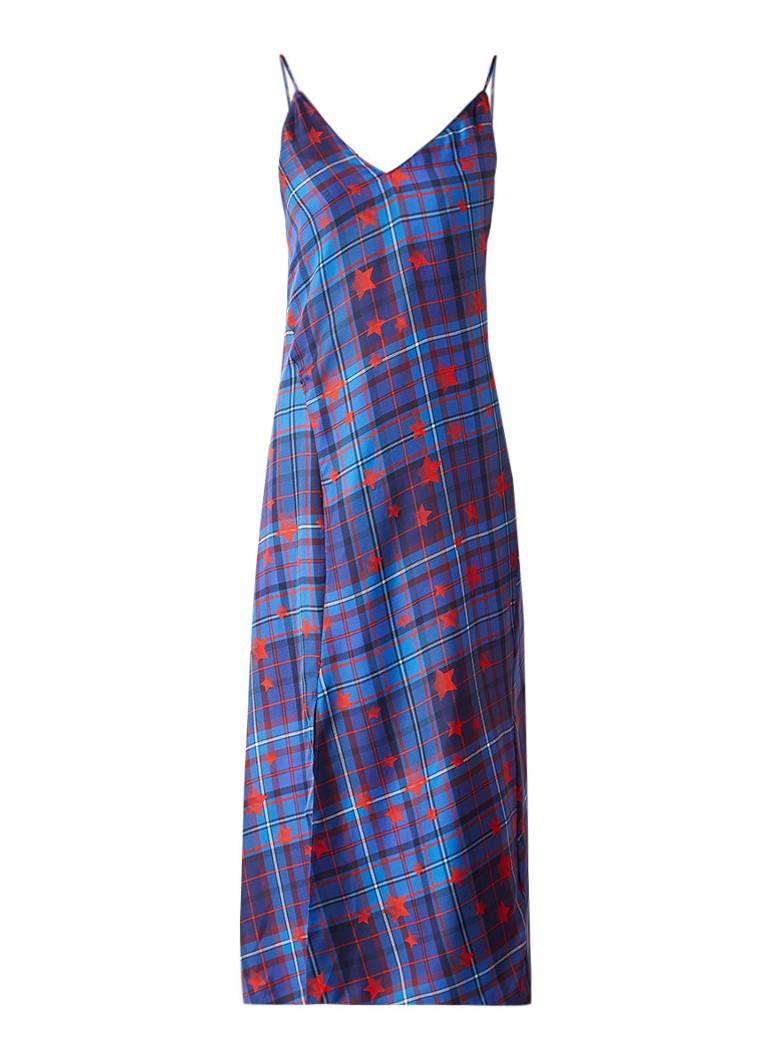 Tommy Hilfiger Midi-jurk van zijde met geruit dessin blauw