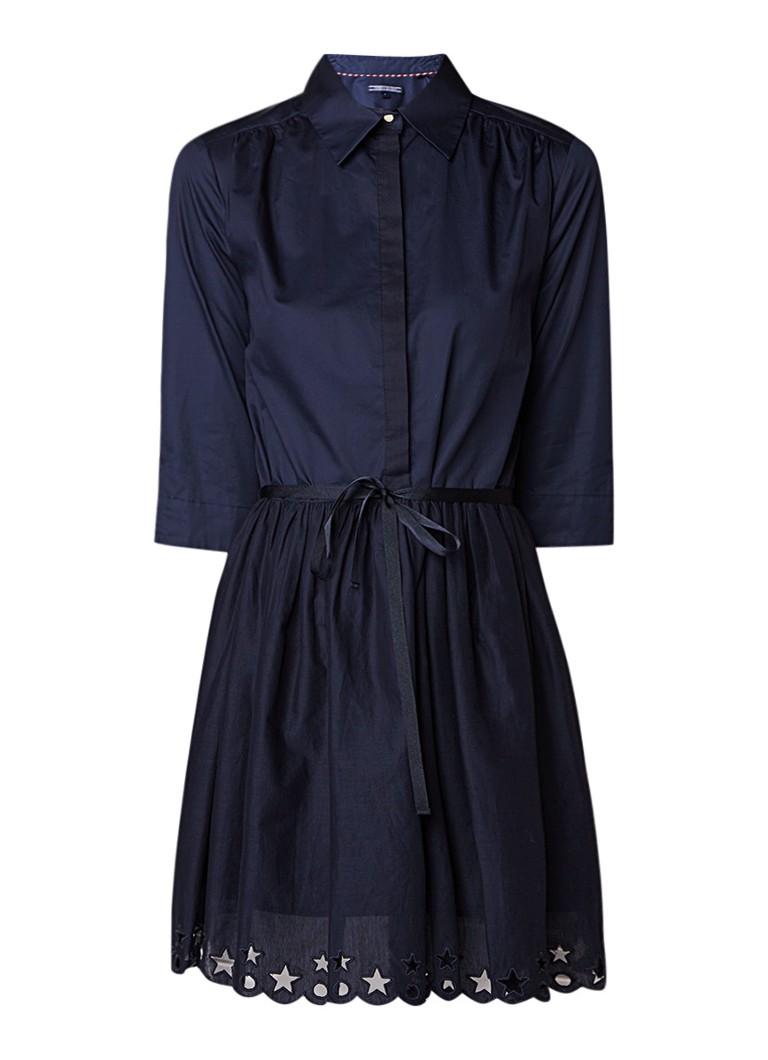 Tommy Hilfiger Hayette blousejurk van katoen met opengewerkt detail donkerblauw