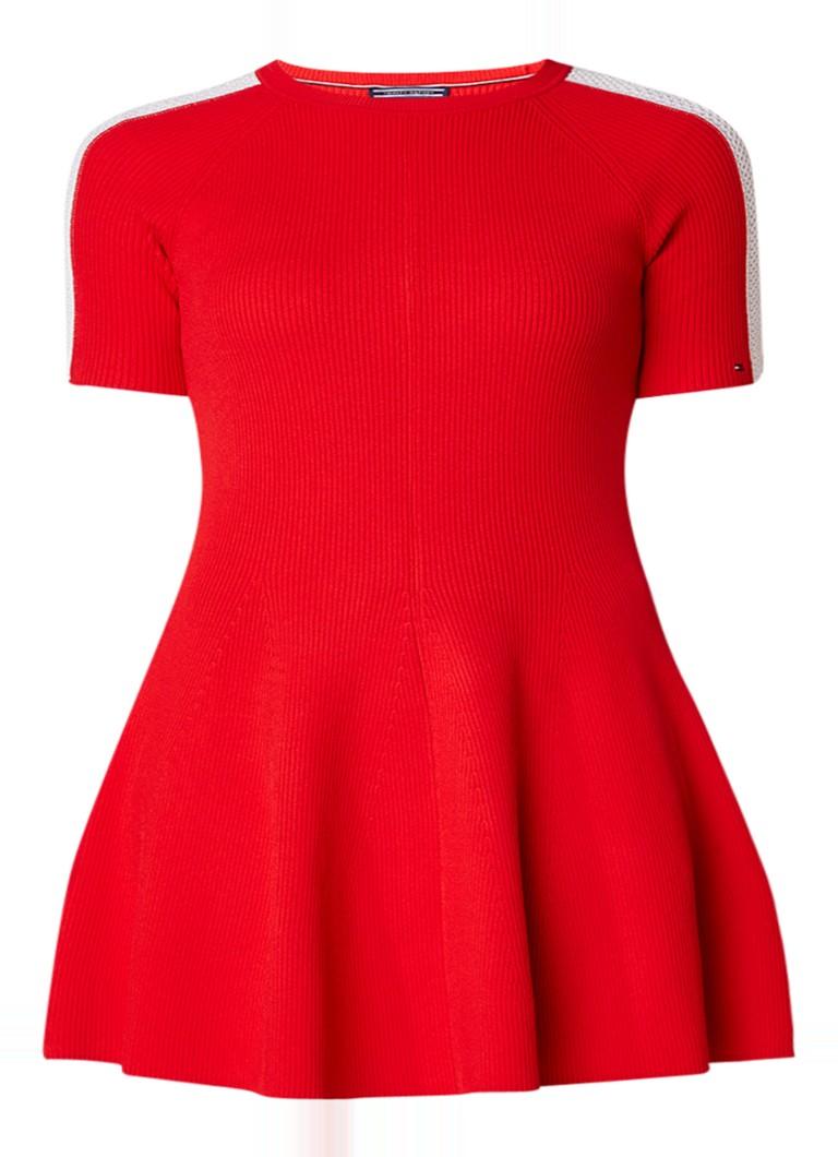 Tommy Hilfiger Rayana ribgebreide A-lijn jurk met mesh detail rood