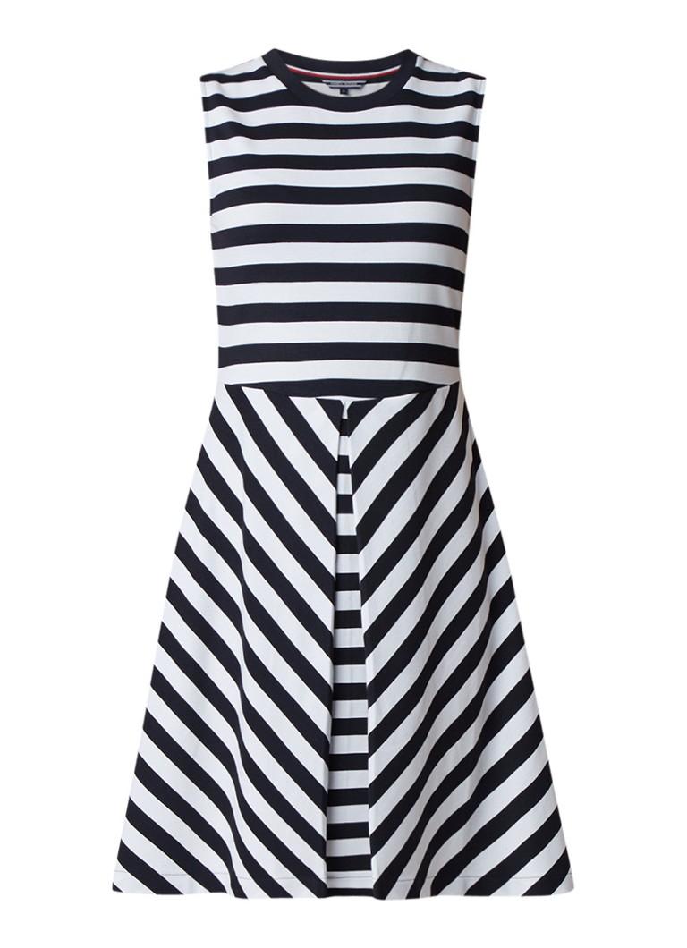 Tommy Hilfiger Bettina A-lijn jurk met streepdessin donkerblauw