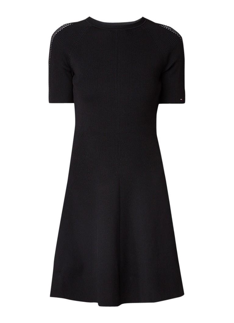 Tommy Hilfiger Rayana fijngebreide A-lijn jurk met opengewerkte details zwart