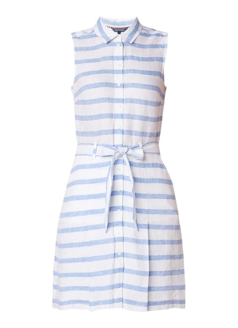 Tommy Hilfiger Hillary blousejurk van linnen met streepdessin lichtblauw