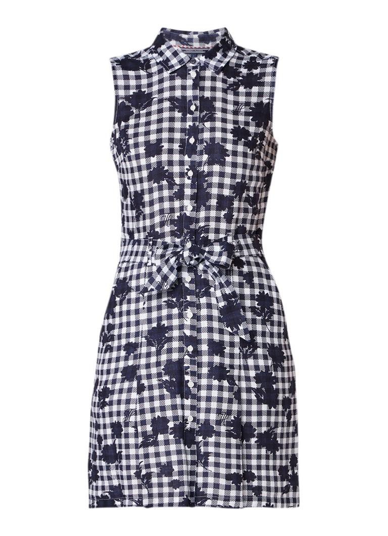 Tommy Hilfiger Hillary blousejurk van linnen met pied-de-poule dessin donkerblauw