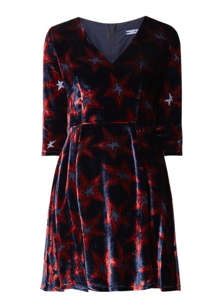 Tommy Hilfiger Neve A-lijn jurk van fluweel met sterrendessin donkerblauw