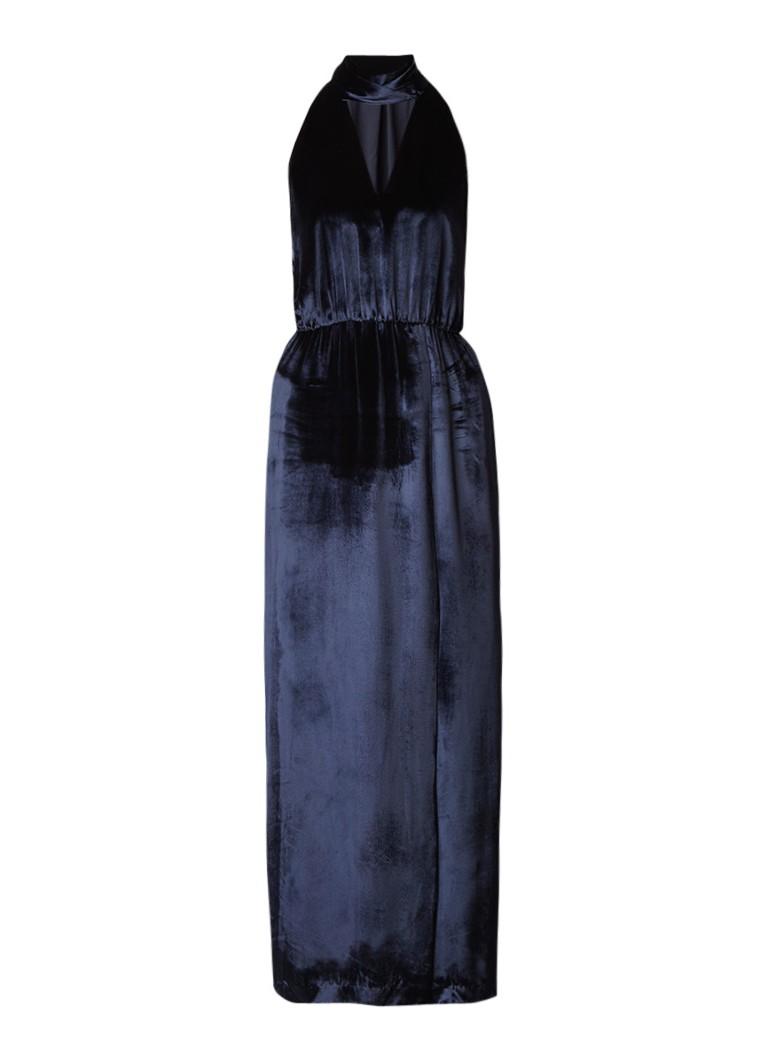Tommy Hilfiger Neda maxi jurk met choker van fluweel in zijdeblend donkerblauw