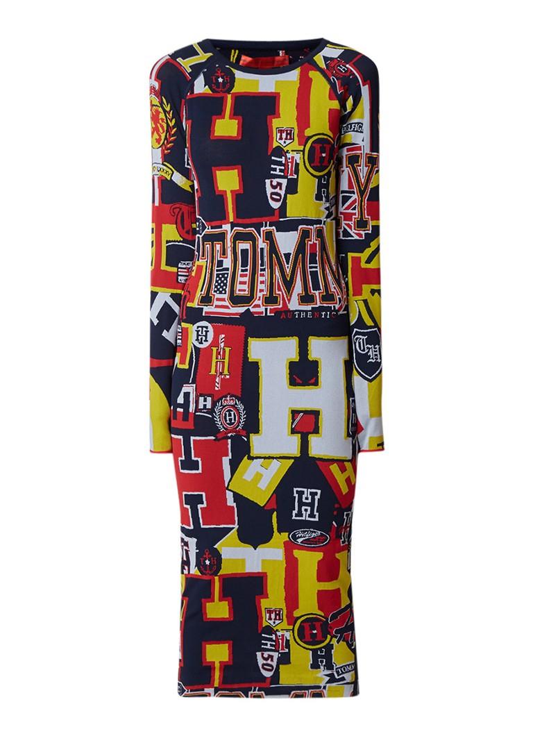 Tommy Hilfiger Fijngebreide midi-jurk met dessin en logoprint multicolor