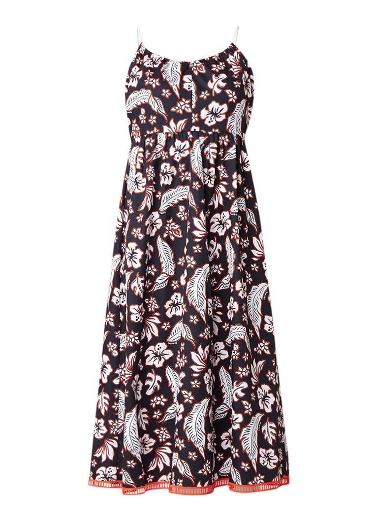 Tommy Hilfiger Petra A-lijn jurk van katoen met bloemendessin zwart