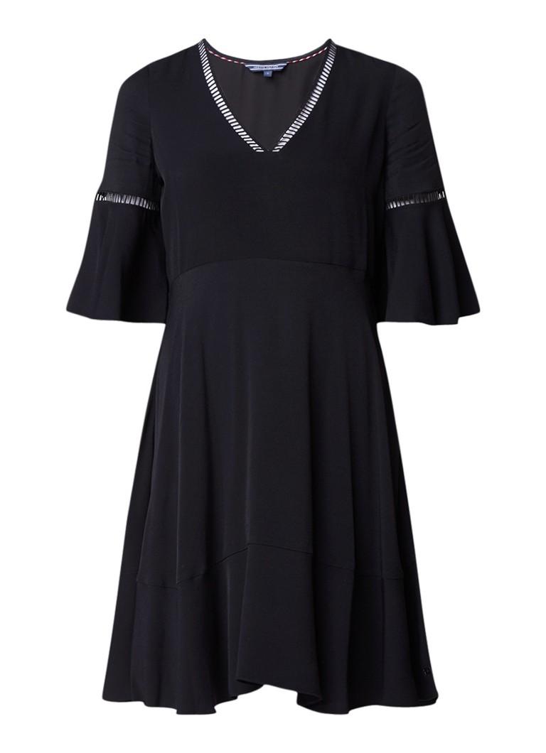 Tommy Hilfiger Peggy A-lijn jurk met volant zwart