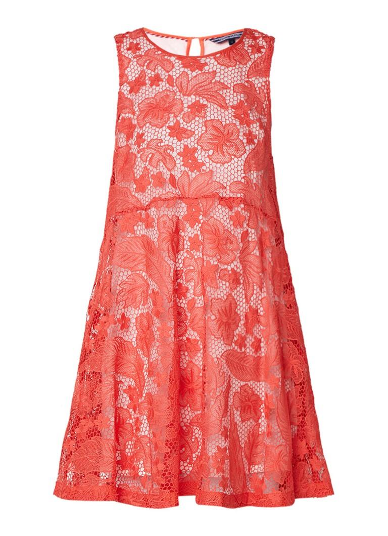Tommy Hilfiger A-lijn jurk van kant met keyhole donkeroranje