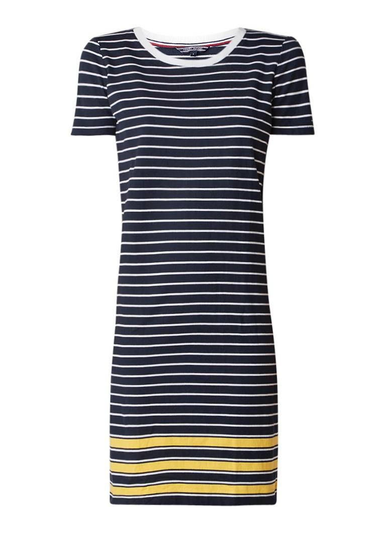 Tommy Hilfiger Diara jersey T-shirt jurk met streepdessin donkerblauw