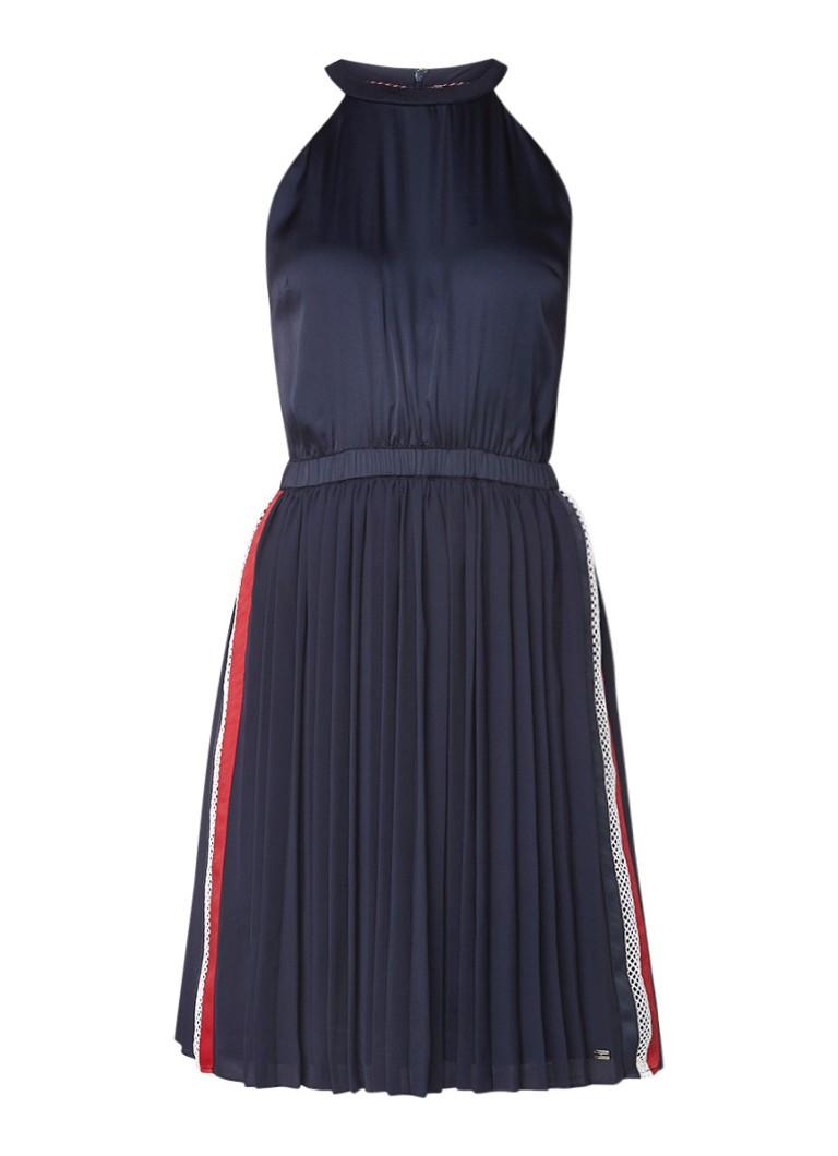 Tommy Hilfiger Roya A-lijn jurk met plissé en contrastbies donkerblauw